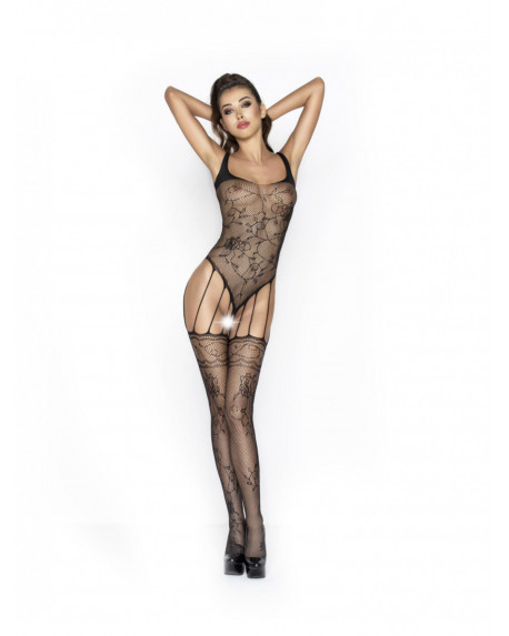 PASSION - bodystocking ricamato a Nero Rete