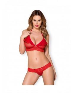 Obsessive - Completino sexy volant Rosso Pizzo