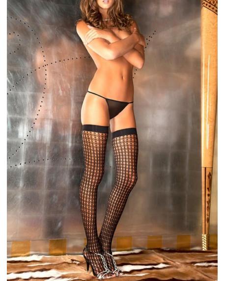Calze autoreggenti con maglia a rete Nylon Nero