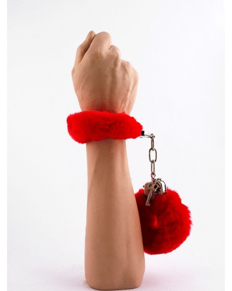 Manette Peluche Love Cuffs Rosso